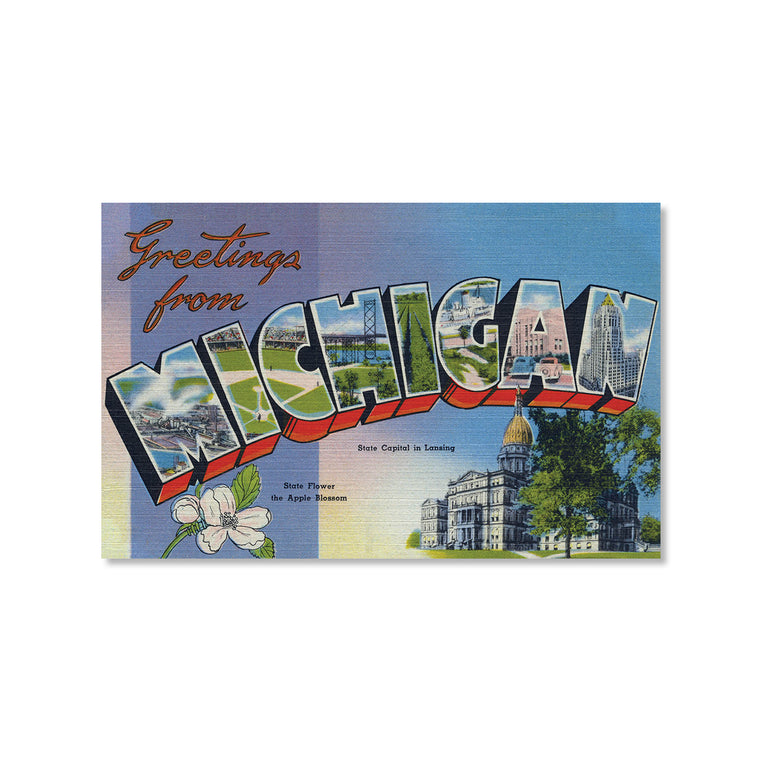 Greetings from Michigan, Blue Postcard