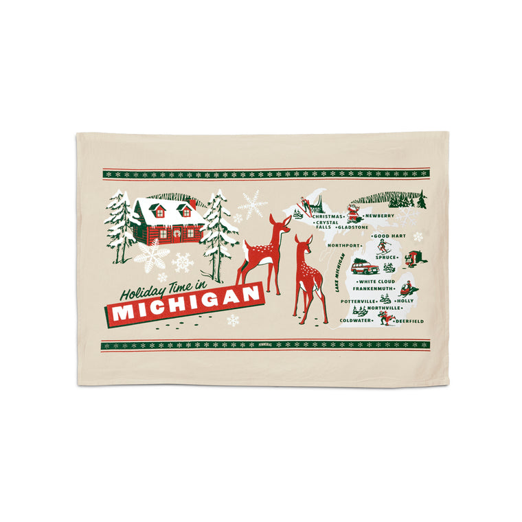 Holiday Greetings from Michigan Flour Sack Towel