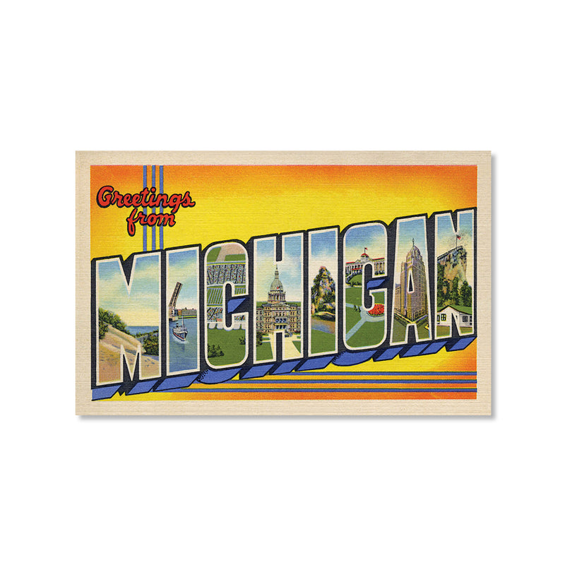 Greetings from Michigan, Yellow Postcard