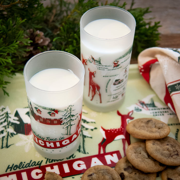 Holiday Greetings from Michigan Frosted Glass - Red