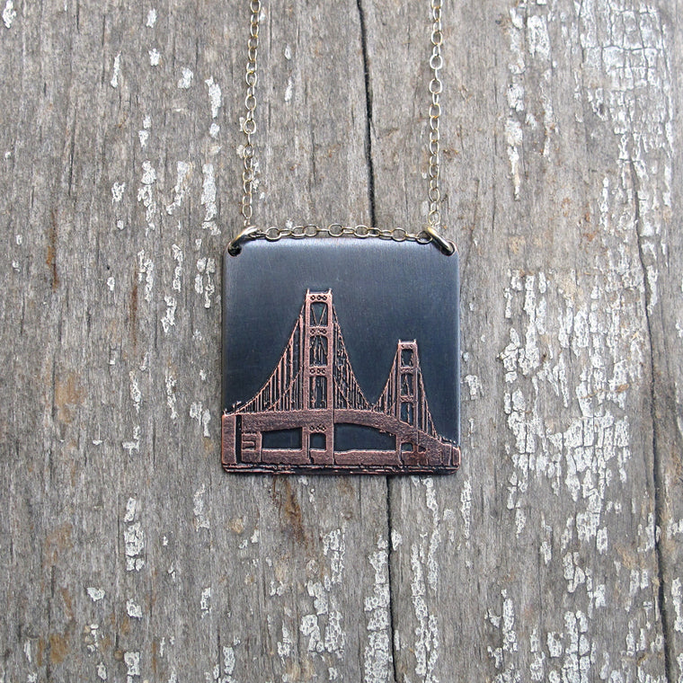 Copper Mackinac Bridge Pendant Necklace