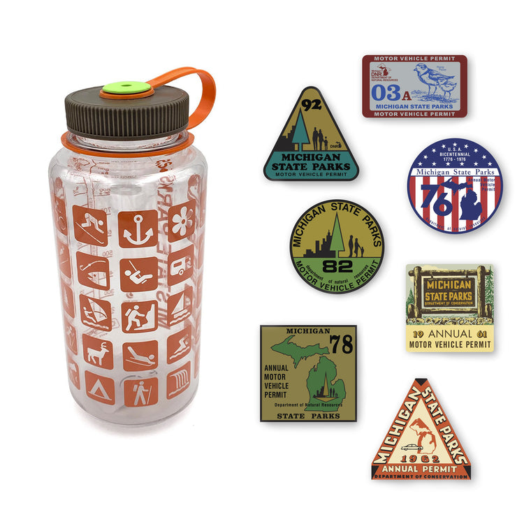 MI State Parks Nalgene Bottle and Stickers Gift Set