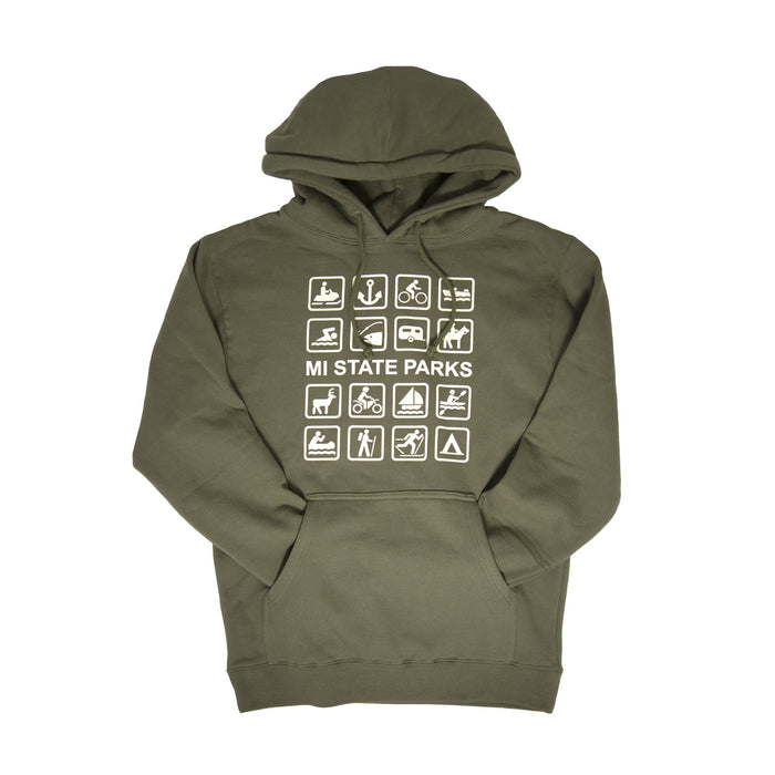 MI State Parks Pullover Hoodie - Olive