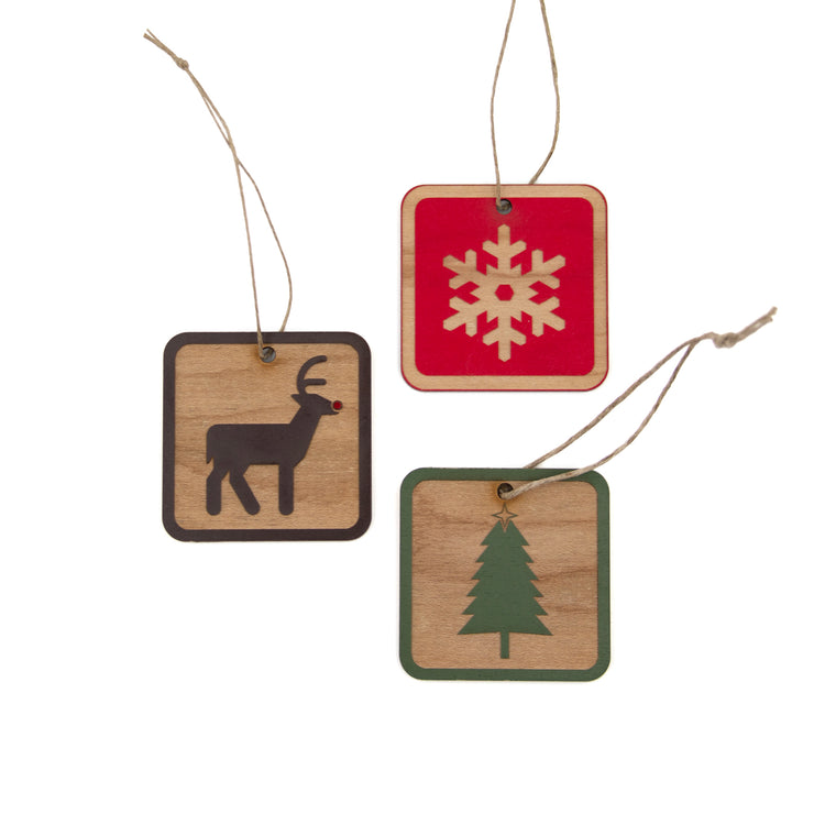 MI State Parks Wood Ornaments - Set of 3