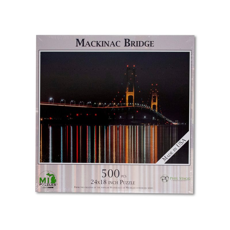 Mackinac Bridge Night Reflections Puzzle - 500 Pieces