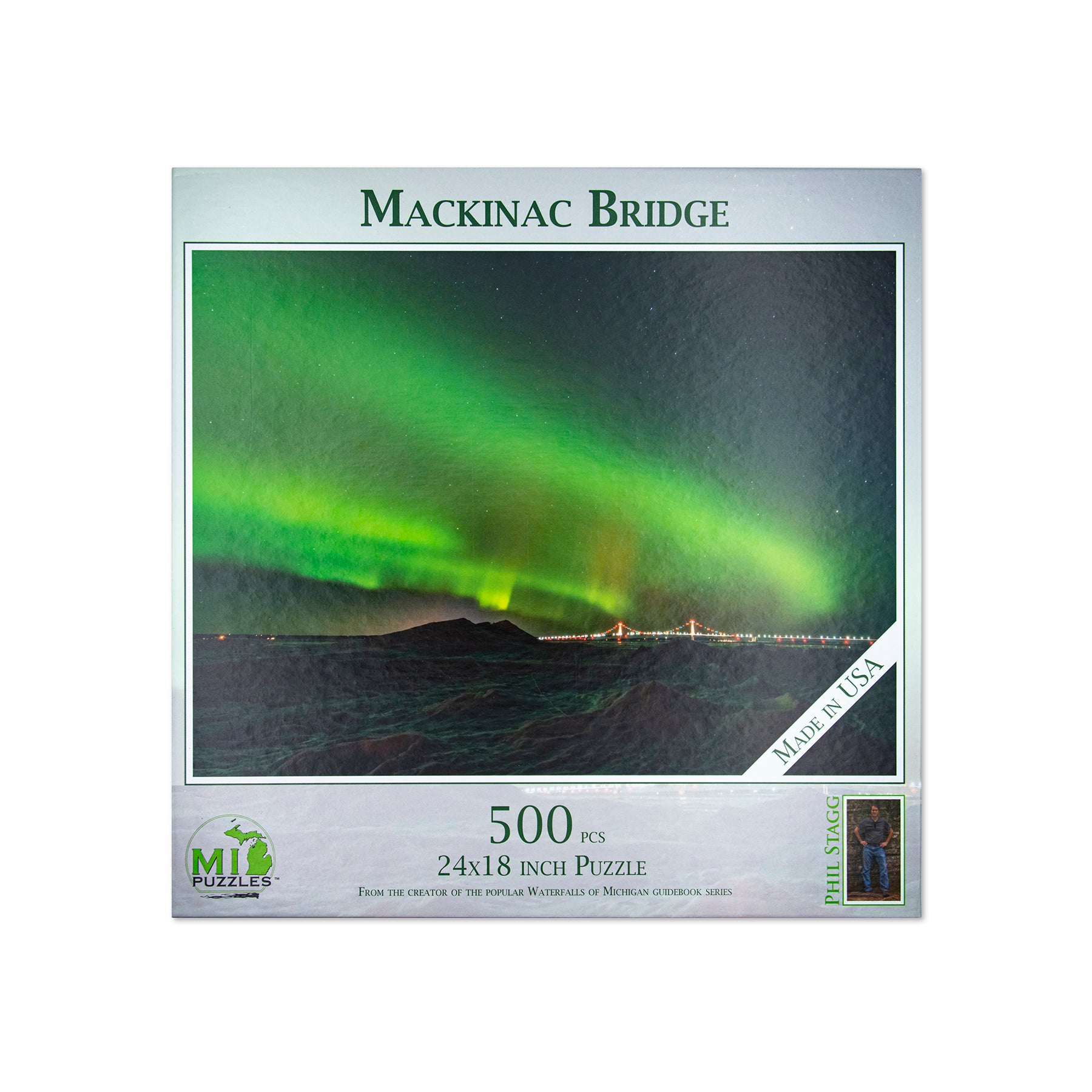 Mackinac Bridge with Northern Lights Puzzle - 500 Pieces