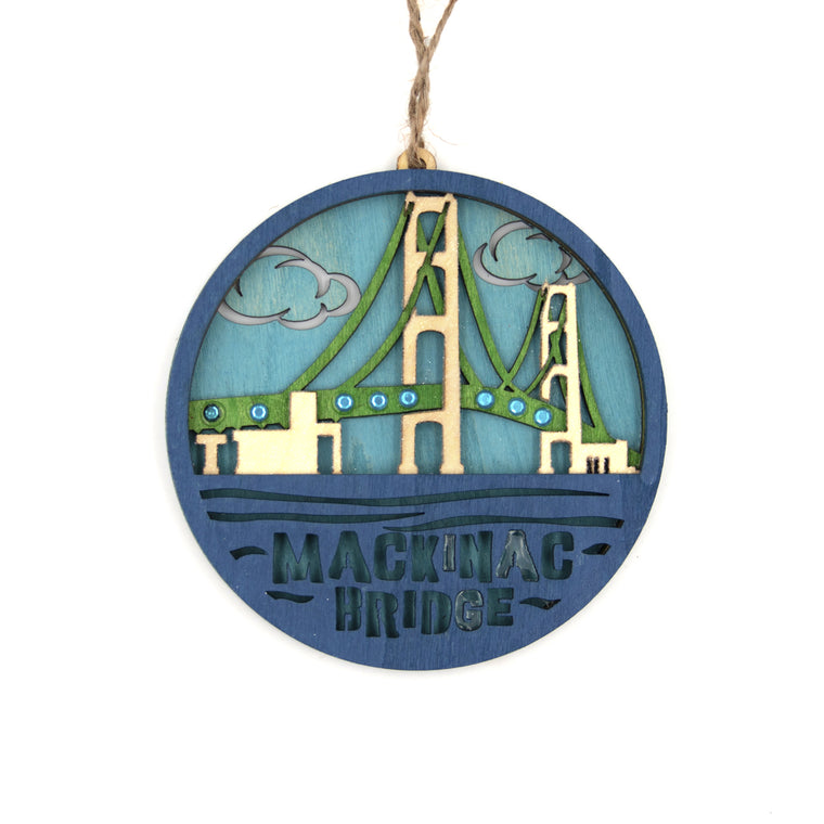 Mackinac Bridge Wood Ornament