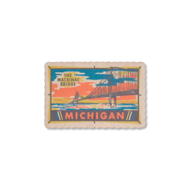 Mackinac Bridge Wood Sticker