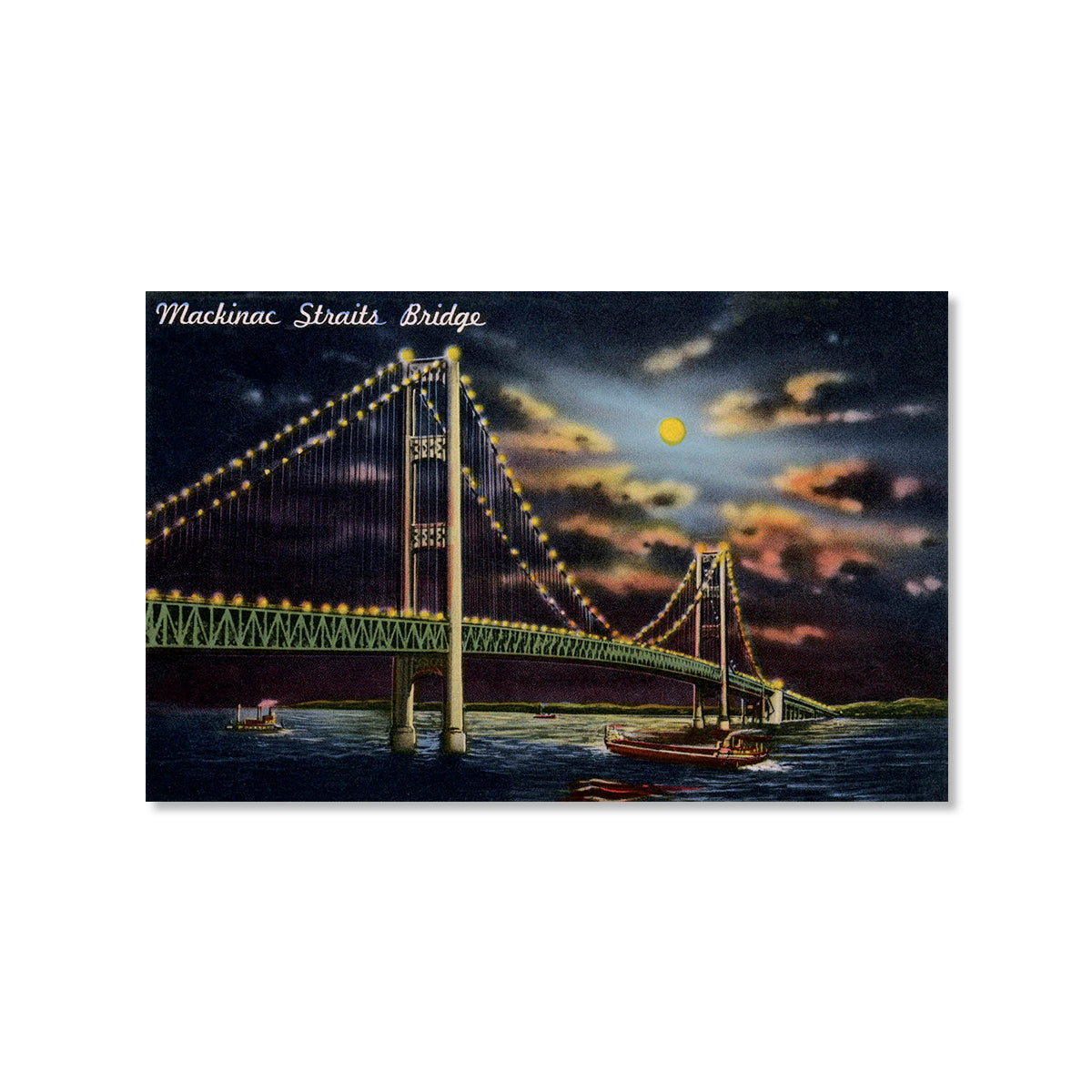 Mackinac Bridge at Night Postcard