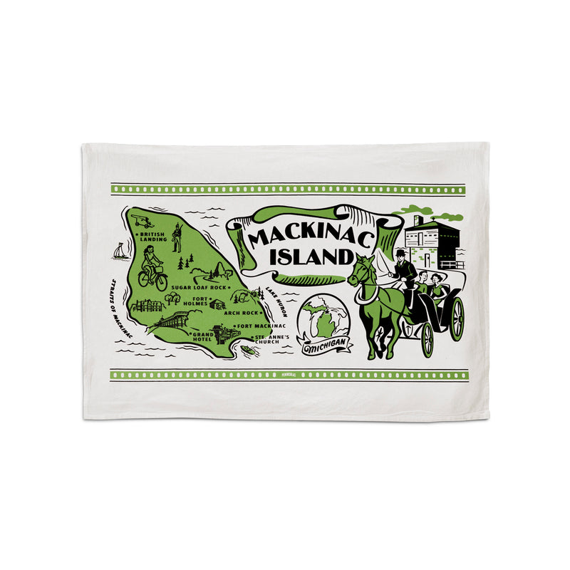 "This 24""x16"" 100% cotton flour sack towel has images and landmarks from Mackinac Island silk screened on it."