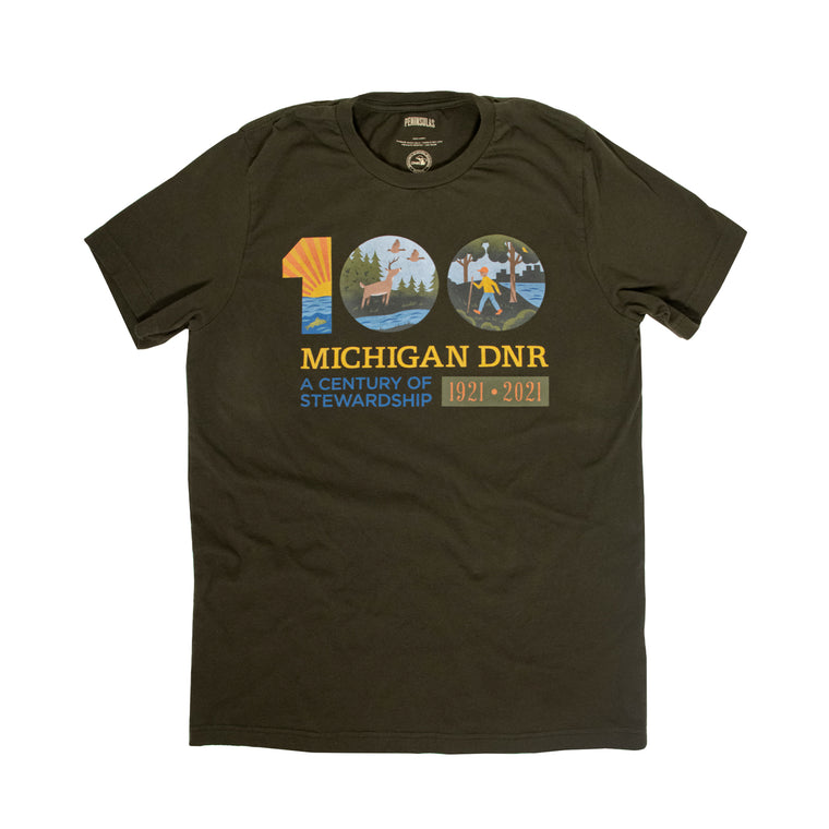 Michigan DNR Centennial T-Shirt - Dark Olive