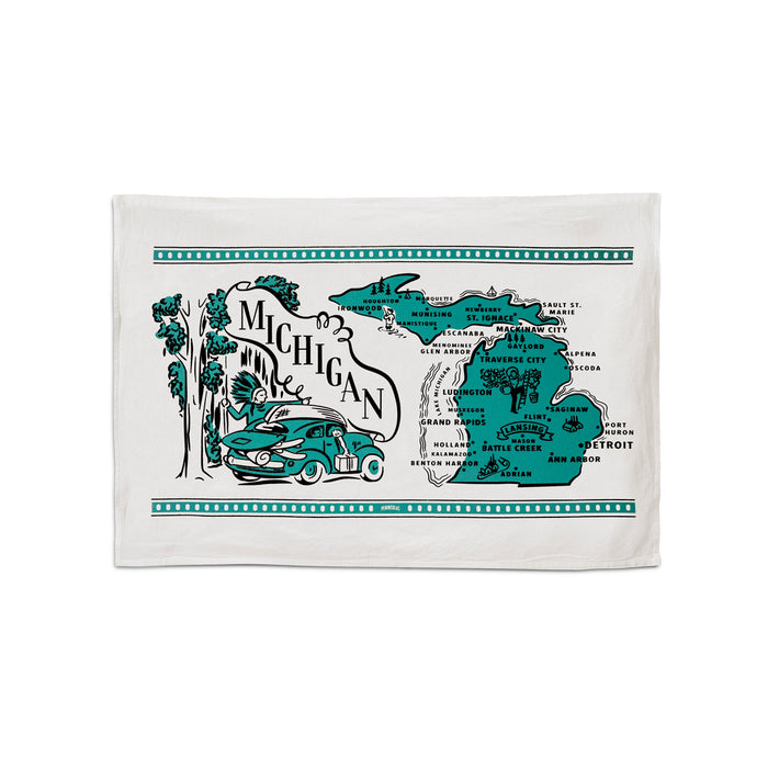 "This 24""x16"" 100% cotton flour sack towel has images and landmarks from Michigan silk screened on it."