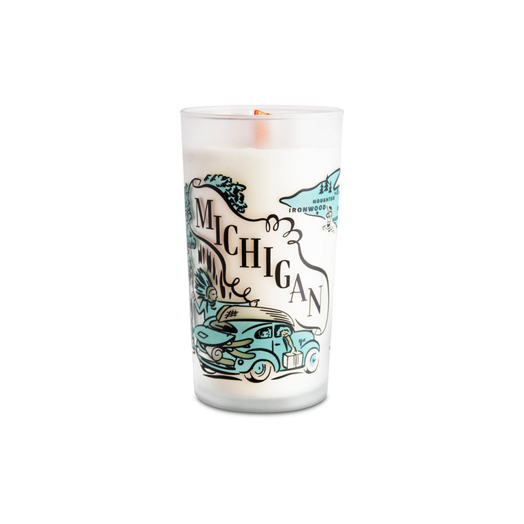 Michigan Frosted Glass Candle