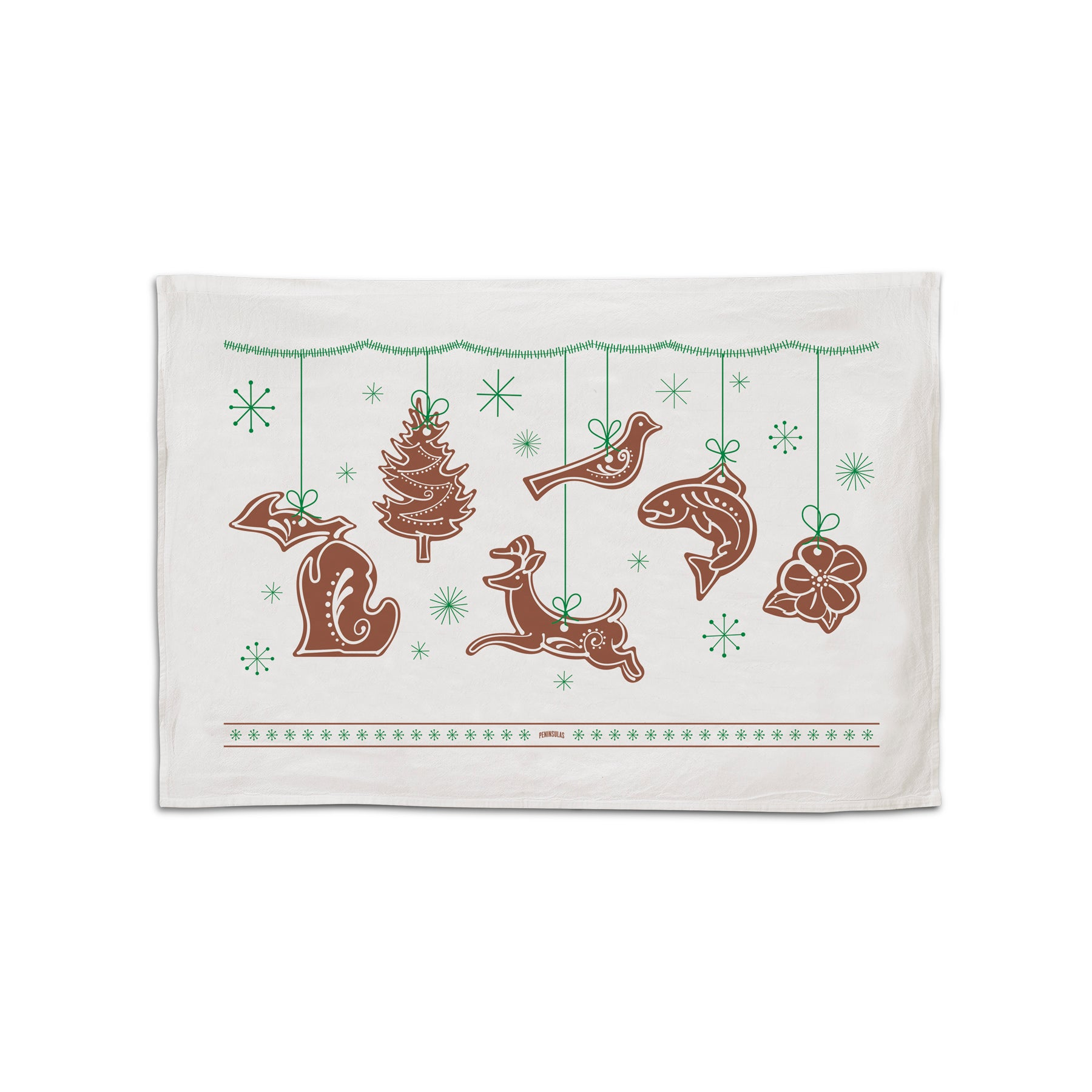 Michigan Gingerbread Holiday Flour Sack Towel