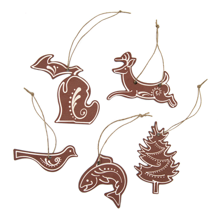 Michigan Gingerbread Wood Ornaments - Set of 5
