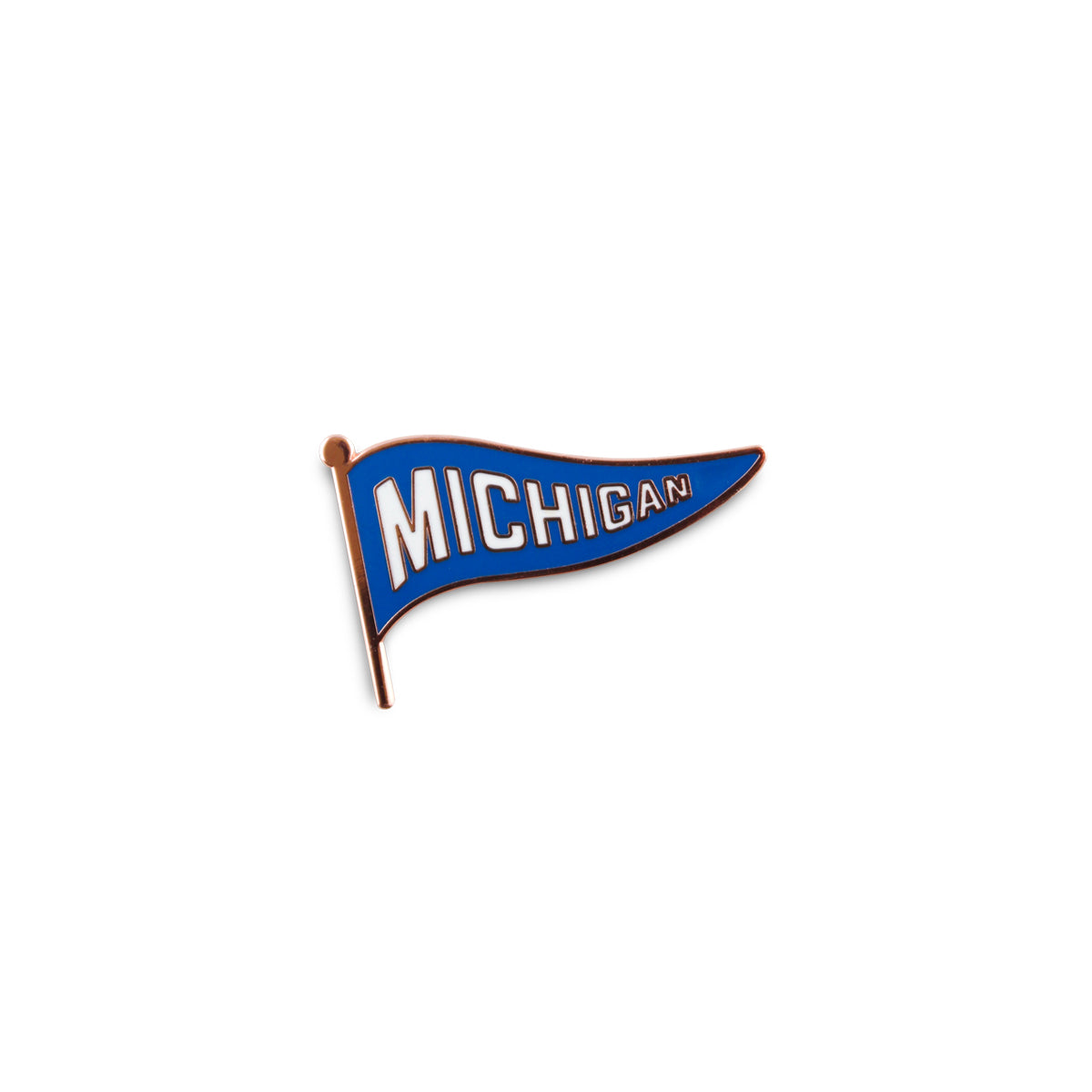 Michigan Pennant Enamel Pin - Blue