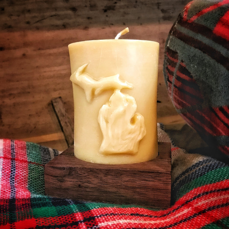 Michigan Pillar Beeswax Candle