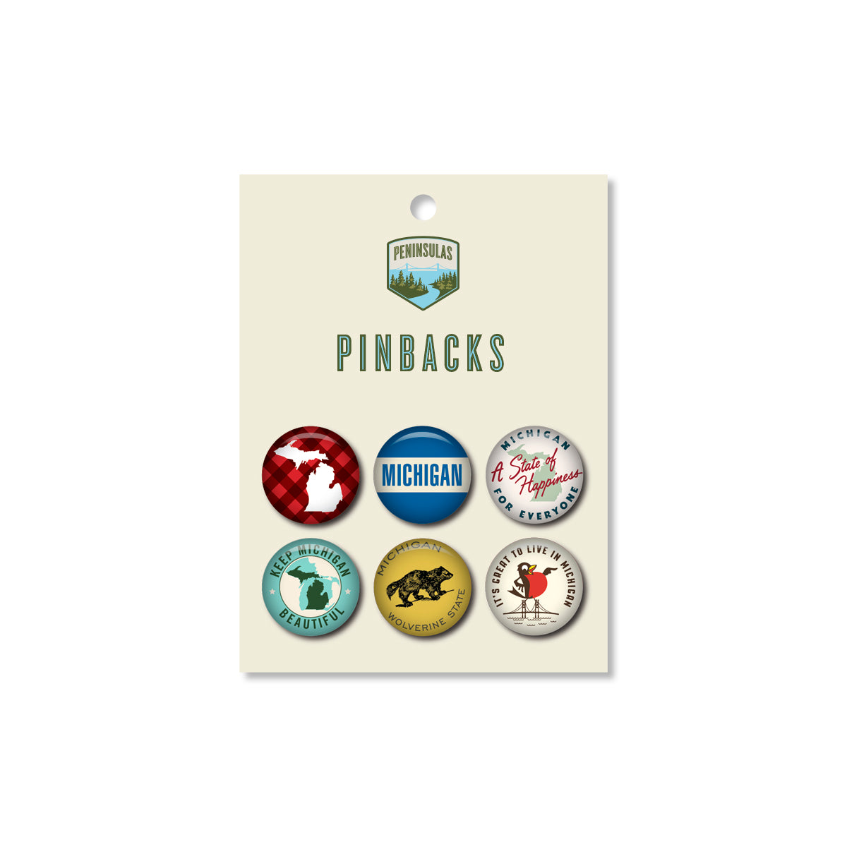 Michigan Pinback Set #2 (Set of 6)