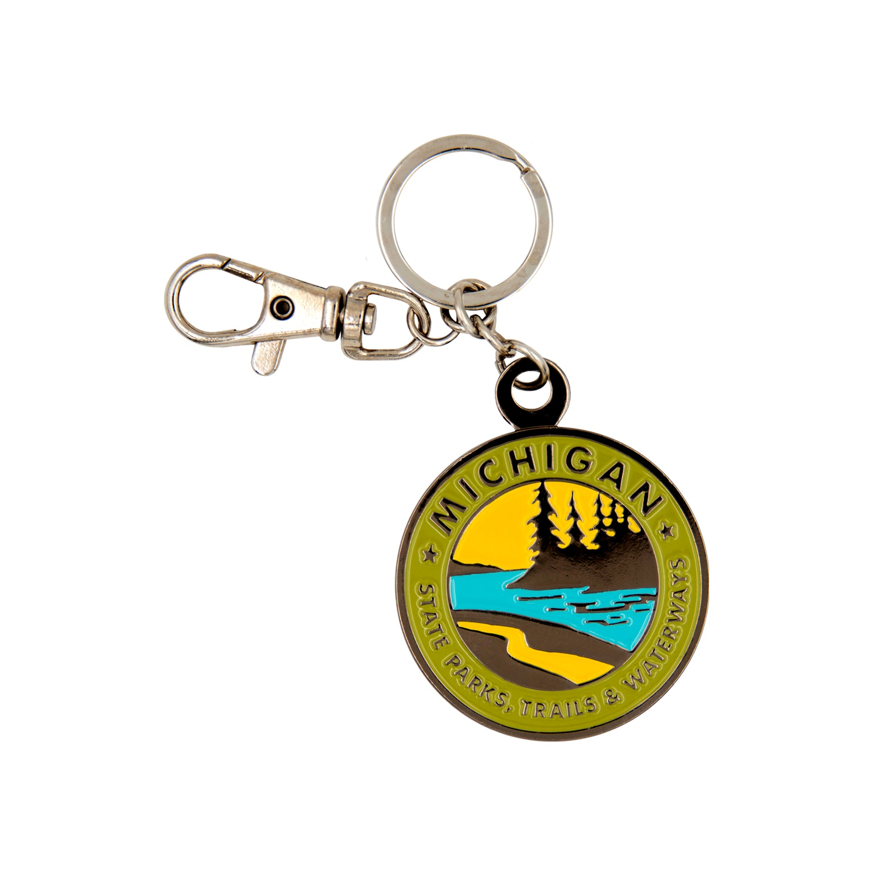Parks Trails Waterways Michigan Keychain
