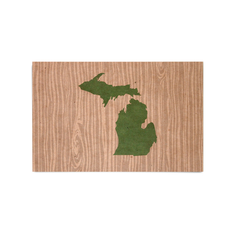 Michigan Woodgrain Map Kraft Postcard