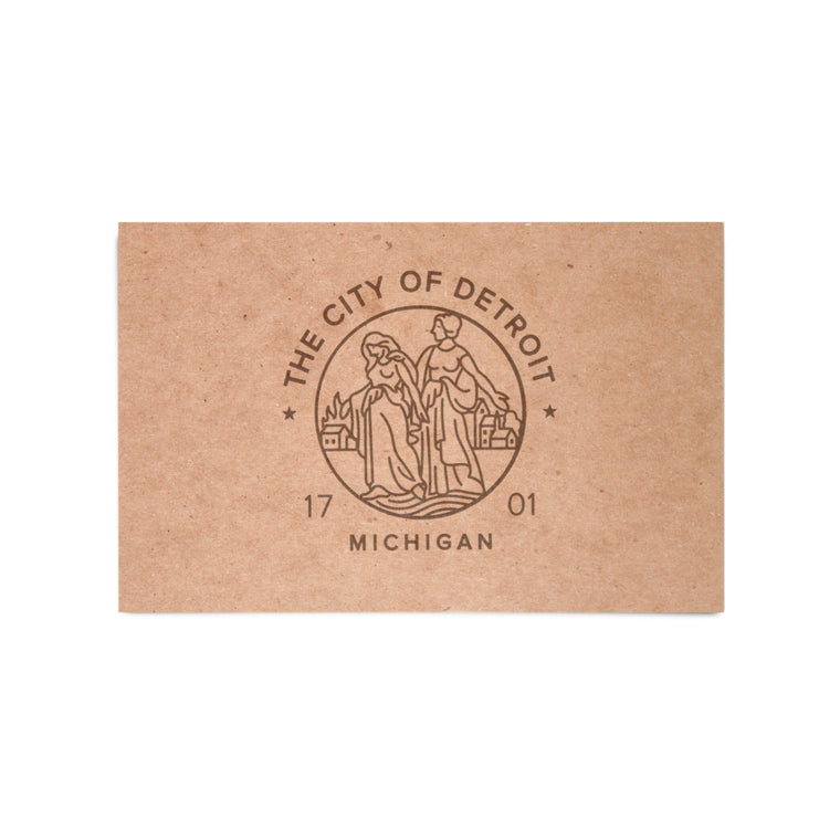 Modern Detroit Seal Kraft Postcard