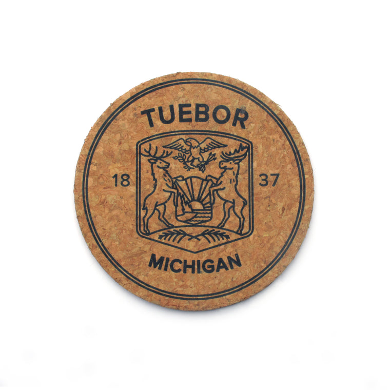 Modern Michigan Seal Cork Coasters - Set of 6
