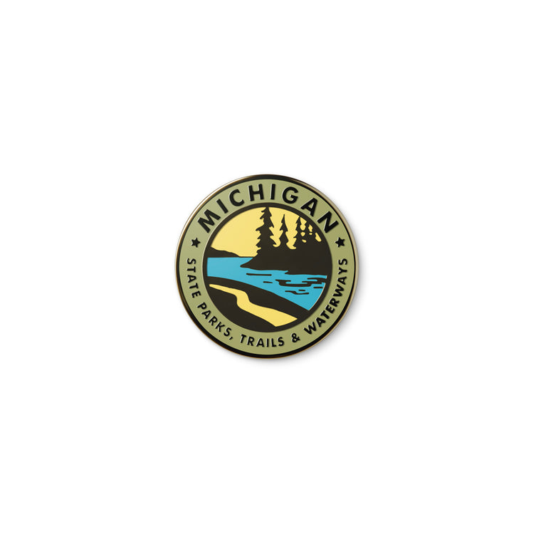 Parks Trails Waterways Michigan Enamel Pin