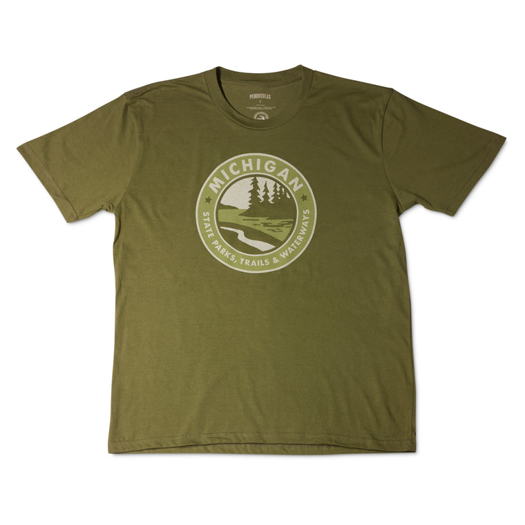 Parks Trails Waterways Michigan T-Shirt - Military Green