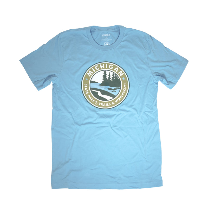 Parks Trails Waterways Michigan T-Shirt - Lake Blue