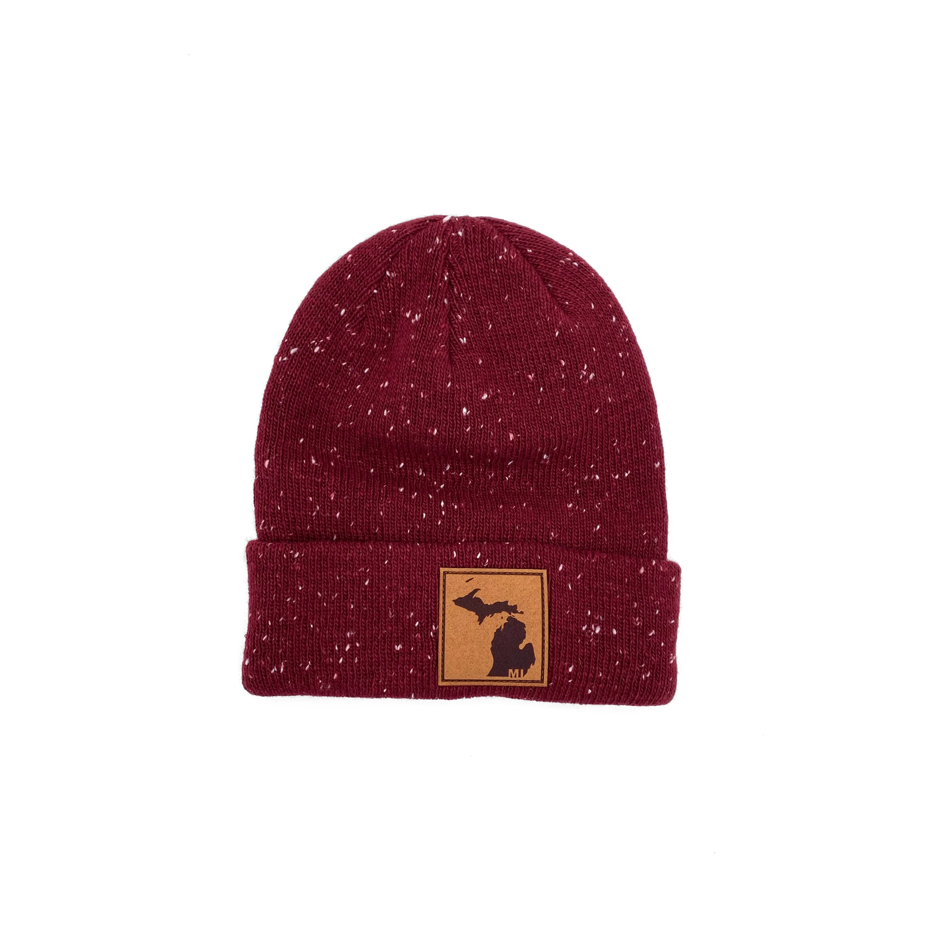 Red Beanie with Michigan Patch