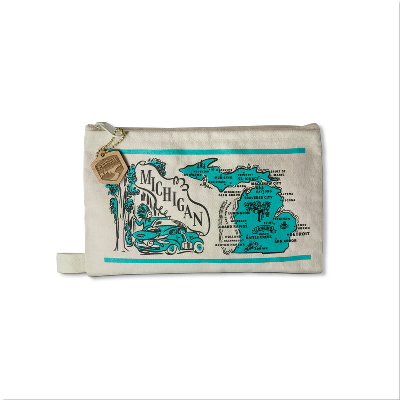 Retro Michigan Map Canvas Pouch