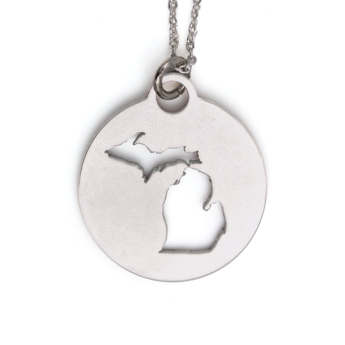 Round Rhodium Michigan Pendant Necklace