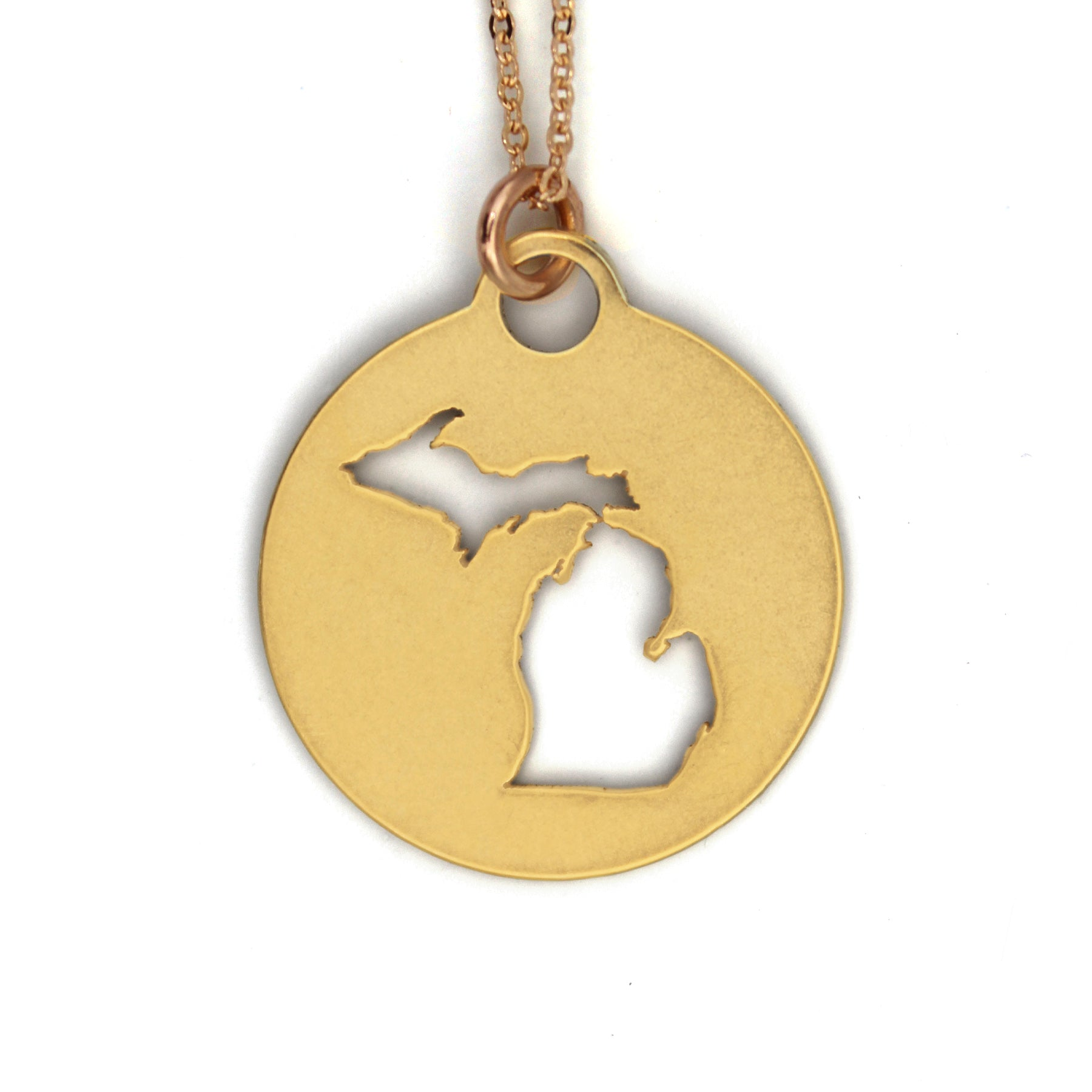 Round Gold Michigan Pendant Necklace