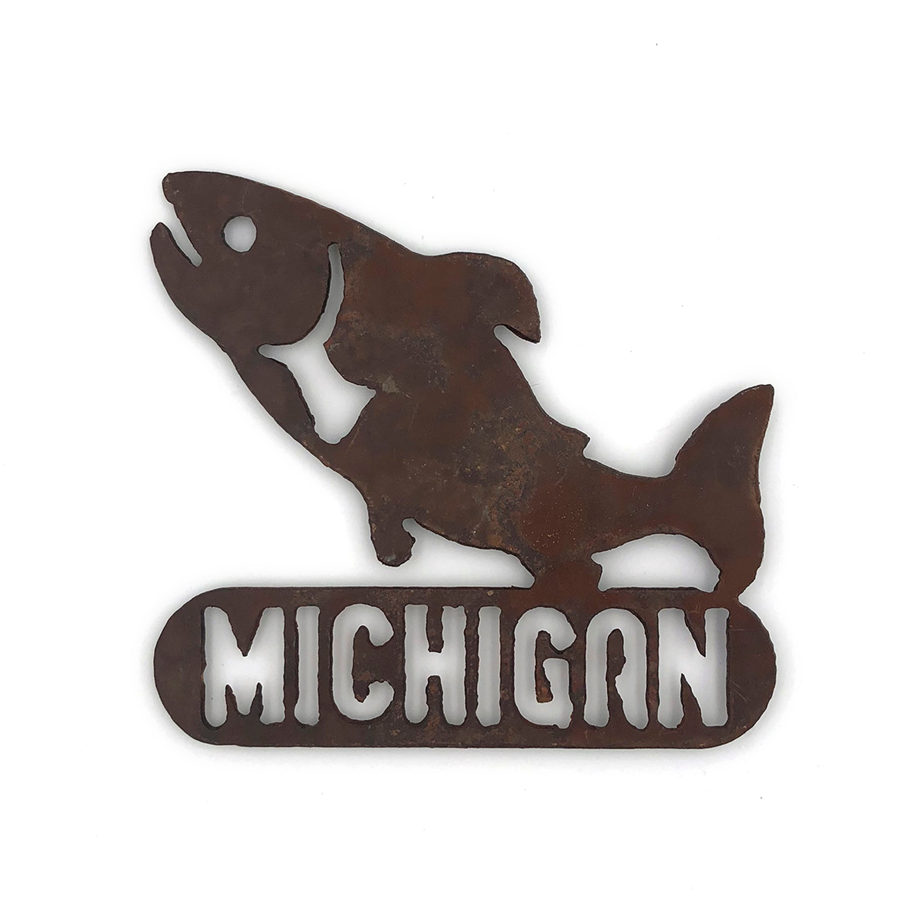 Rustic Metal Michigan Fish Magnet