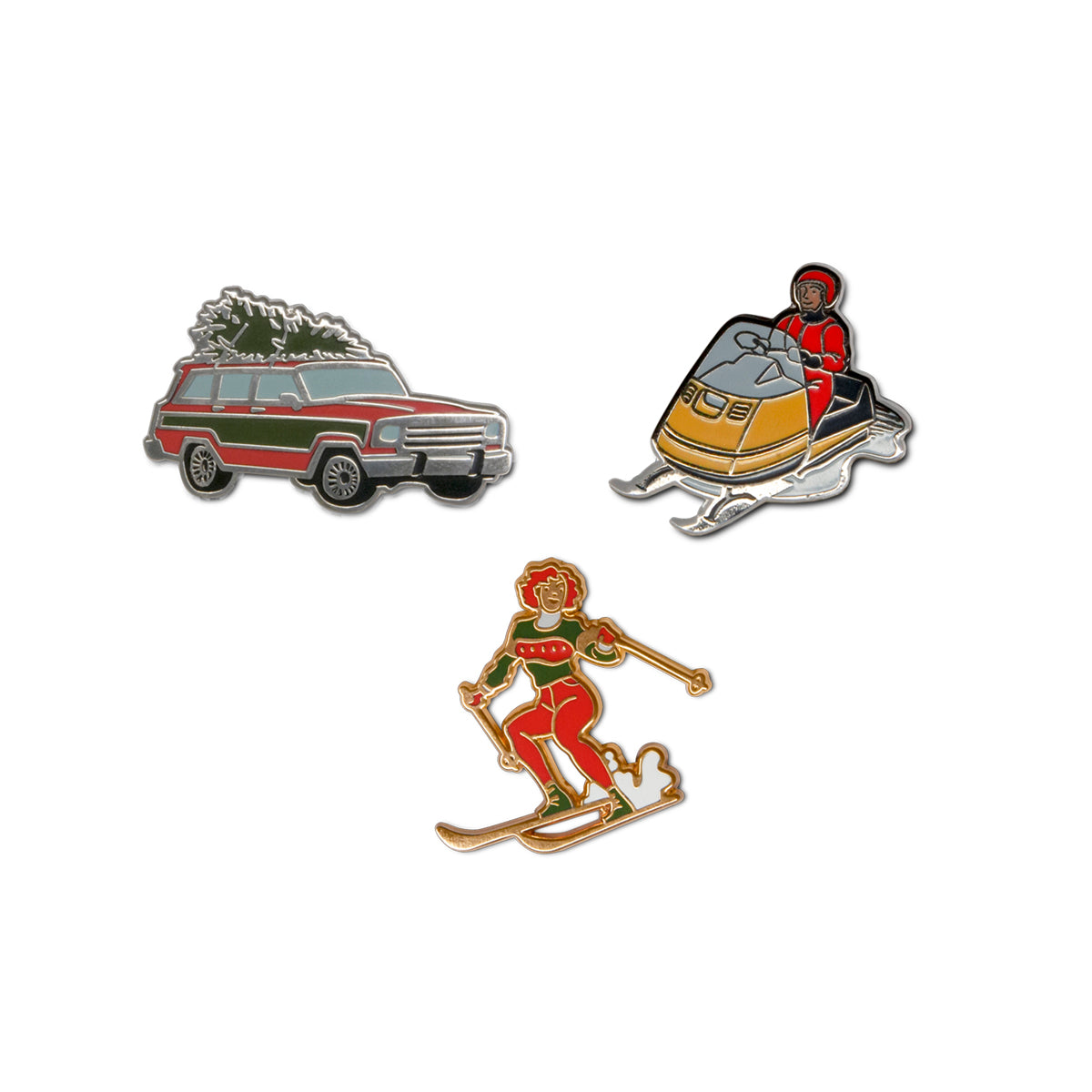Set of Three Winter-Themed Enamel Pins
