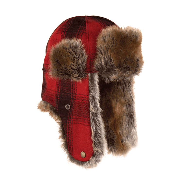 Northwoods Trapper Hat - Red & Black Plaid