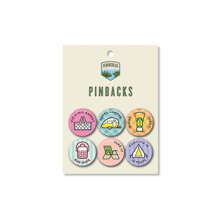Summertime Symbols Set Pinbacks (Set of 6)