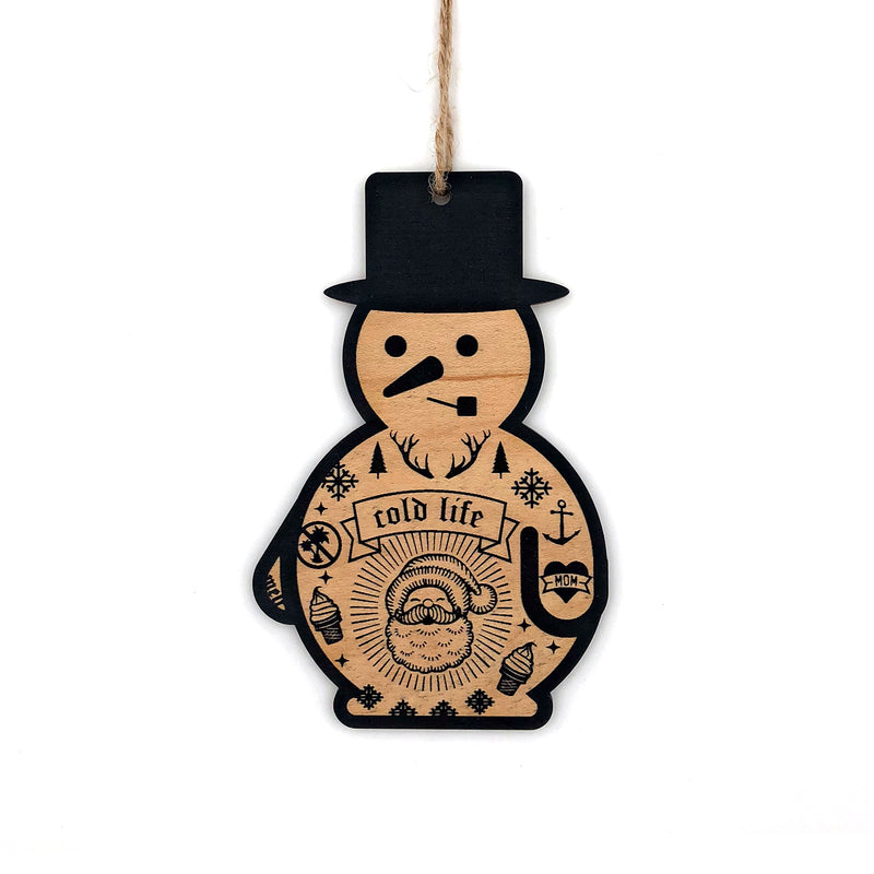 Snowman Wood Ornament