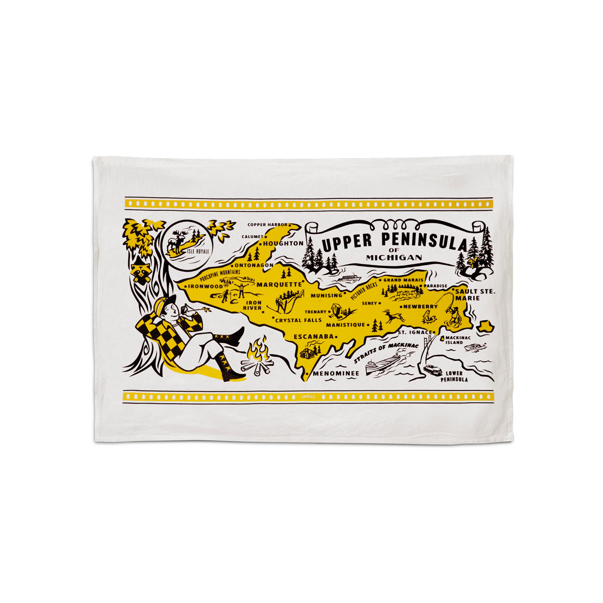 "This 24""x16"" 100% cotton flour sack towel has images and landmarks from the Upper Peninsula silk screened on it."