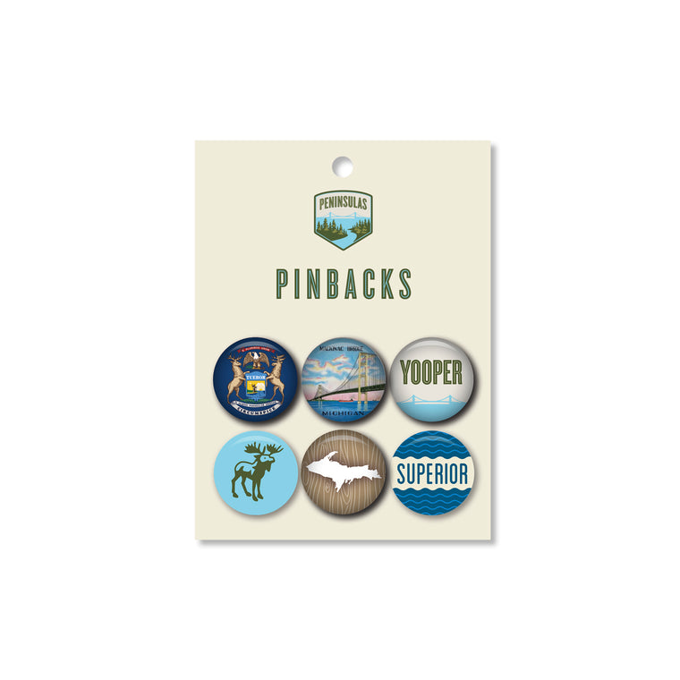 Upper Peninsula Set Pinbacks (Set of 6)