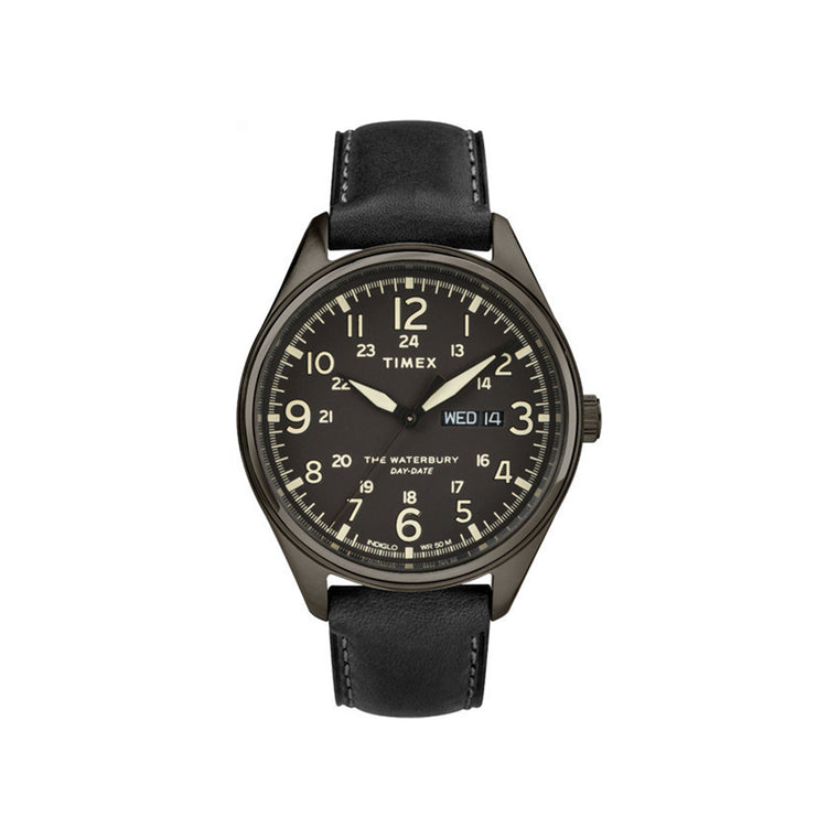 Waterbury Day Date 42mm Timex Watch - Black Leather Strap