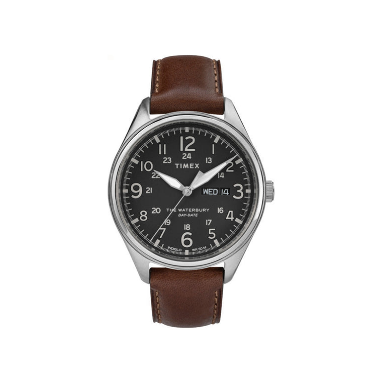 Waterbury Day Date 42mm Timex Watch - Brown Leather Strap