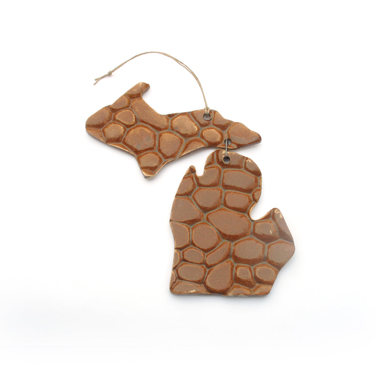 Ceramic Michigan Holiday Ornament