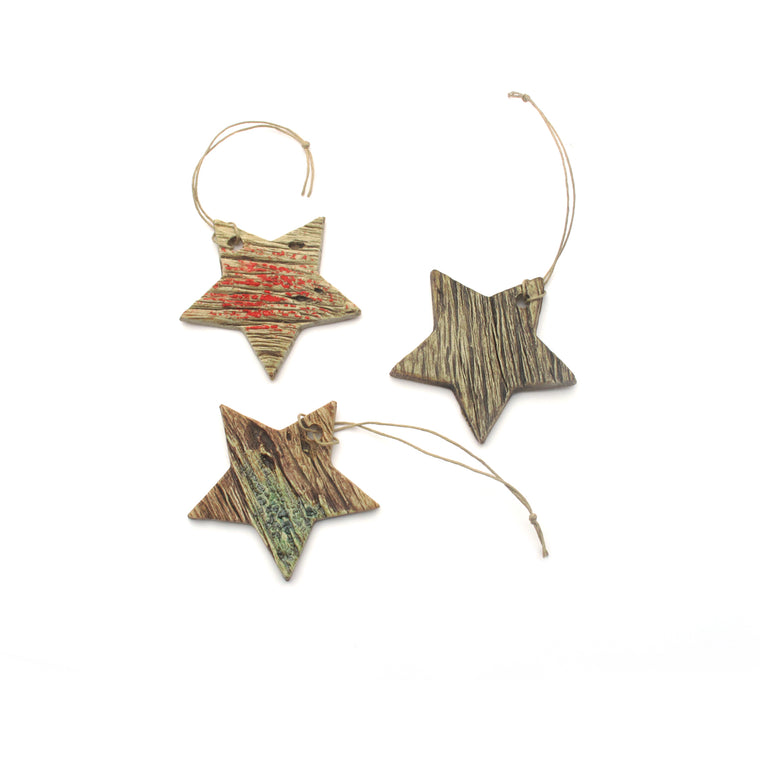 Ceramic Woodgrain Star Holiday Ornament