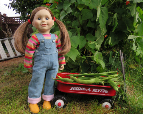 Charlsea doll with her wagon of beans
