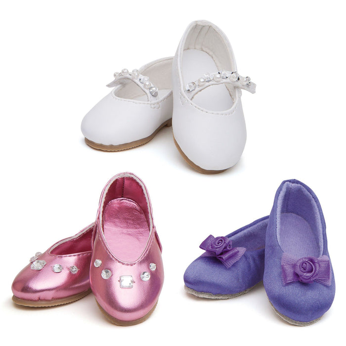 Shimmery Shoes - set of 3 pairs of dressy shoes. Includes shiny pink flats with rhinestones, satiny purple flats with fabric rosette, and white flats with sparkly strap fits all 18 inch dolls.