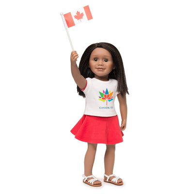 Canada 150 Outfit logo t-shirt, red skirt, Canada flag shown on KMF12 Maplelea Friends doll with Criss Cross Sandals.  Fits all 18 inch dolls.