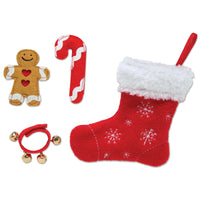 Christmas Traditions stocking, gingerbread man, fabric candy cane and bells for all 18 inch dolls