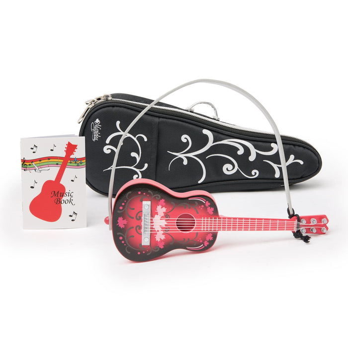 Maplelea wooden guitar for 18 inch dolls come with guitar strap, soft carrying bag and music book.
