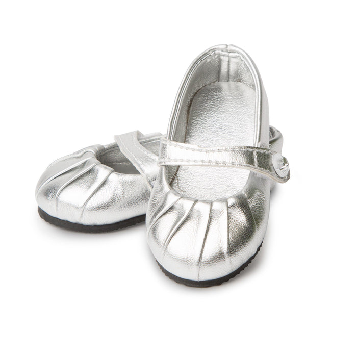 Silver Shine Shoes with pleated toe and strap fits all 18 inch dolls.